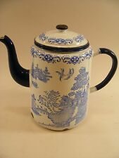 RARE Blue Willow English Enamelware Coffee Pot c.1930