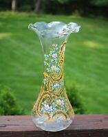 Antique MOSER Style Bohemian Hand Blown Glass Ruffled Rim Enamel Vase Bonus