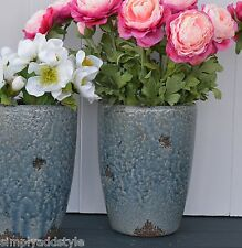 Blue Grey Rustic Textured Crackled Oval Vase was £12 now £9