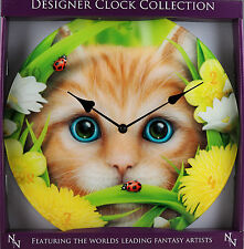 Cute Summer Cat And Ladybird Large 34 cm Glass Front Wall Clock