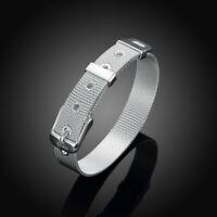 Mesh-Armband 925 versilbert Gürtel-Armband mit Schnalle Milanaise