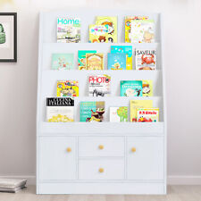 Children Bookcase Kids Display Bookshelf Storage Unit Shelving Wooden Rack White