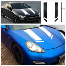 1 Pair Car Hood Auto Bonnet White Stripe Vinyl Stickers Racing Sport Styling