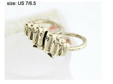 Charm Women Retro Bronze Plated Two Fist Marked Love & Hate Fingers Ring Size 8