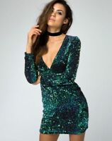 MOTEL ROCKS Meli Plunge Neck Bodycon Dress in Iridescent Green S Small (mr97.2)