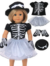 """Silver Skeleton Costume Halloween Skirt Set Fits 18"""" American Girl Doll Clothes"""