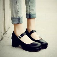 Women's Lolita Sweet Ankle Strap Block Low Heel Girls Round Toe Mary Jane Shoes