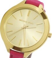 Michael Kors MK2298 Gold Slim Runway Watch w/ Merlot Leather Band