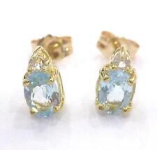 SYTRUEMECO 9KT YELLOW GOLD NATURAL BLUE TOPAZ & WHITE TOPAZ STUD EARRINGS  E813