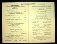 Vintage Southern Pacific Railway Dining Car Dinner Menu 1948 Lake Tahoe
