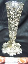 RARE - ELKINGTON ENGLISH EDWARDIAN NATURALISTIC FLORAL CENTERPIECE SILVER VASE