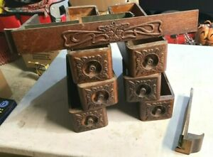 ANTIQUE SINGER TREADLE SEWING MACHINE WOOD DRAWERS ~ 7 NICE ORNATE BOXES & FRAME