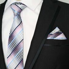 US085 Men Blue Striped Gray Pink Grids Silk Neck Tie Pocket Square Hanky Set Lot