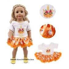 "Happy Halloween Pumpkin Ghost Dress 18"" Doll Clothes Fit American Girl Dolls"