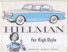 Hillman Minx Convertible De Luxe Estate & Special Saloon 1958 Original Brochure