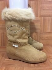 VTG❤️ Tecnica Apres Wedge Boots Blonde Goat Hair Ski Women's Sz 10 US