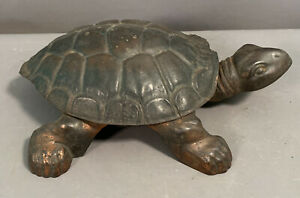 Antique VICTORIAN Old CAST IRON Figural TURTLE Statue GOLDEN NOVELTY SPITTOON