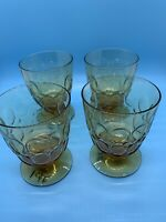 VINTAGE AMBER GLASS GOBLETS INDIANA GLASS THUMBPRINT