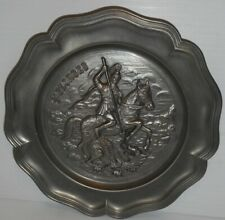 """Vintage St.Georges Slaying Dragon Pewter Wall / hanging Plate 9"""" dia. relief"""