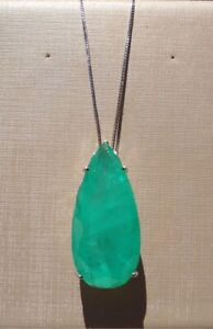LARGE PEAR DROP COLOMBIAN EMERALD NECKLACE 925 STERLING SILVER CHAIN GIFT