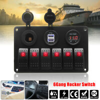 6 Gang Marine Boat Red LED Rocker Switch Panel Dual USB Charger Voltmeter