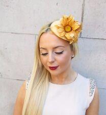 Gold Velvet Daisy Flower Fascinator Headband Hat Teardrop Races 1950s Vtg 2475