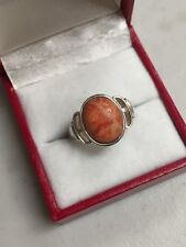 STERLING SILVER ORANGE OVAL STONE RING