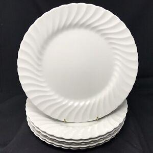 "Johnson Brothers White Regency Swirl Large 27cm (10.5"") Dinner Plates X6"