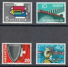 Switzerland 1957 MLH Mi 637-640 Sc 359-362 Railroad,printing machine,Graphic Art