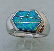 LARGE ANNE KLEIN AK ESTATE STERLING SILVER INLAID OPAL BAND RING SIZE 10.25