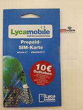 Lycamobile Lyca Prepaid Sim Karte D- Netz inkl. 7,50+2,50€ Euro Guthaben, WoW