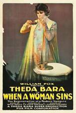 OLD MOVIE PRINT When A Woman Sins Poster Theda Bara On 1918
