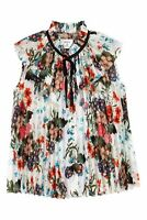 ERDEM x H&M Pleated Blouse Floral Print Pattern Sleeveless Top S 36 Summer White