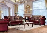 Old World Living Room Furniture Wood Trim & Burgundy Fabric Sofa Couch Set IRCU