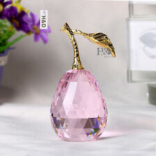 Crystal Paperweight Pink 3D Pear Ornament Figurine Glass Decor Christmas Gift