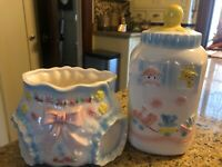Vintage Relpo Baby Planters, Baby Bottle, Baby Girl Diaper MINT, Lot Of 2