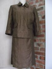 Windsmoor  Size 14 Brown 2 piece set Skirt & Jacket Linen blend Crinkle