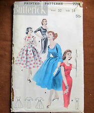 Dress w EMPIRE CUMMERBUND  Size 14 Vintage Sewing Pattern Butterick 7785
