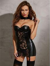 New Black Wet Look Garter Chemise Lingerie Sleepwear Valentine Size UK 10-12