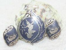 VTG Siam Sterling Silver Pendant/Brooch Clip Earrings Niello Mekhala Dragon Boat