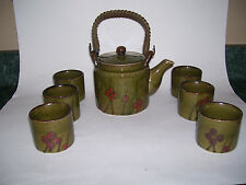 VTG OMC POTTERY TEA POT JAPAN HANDLED 6 CUPS BAMBOO DECORATIVE TEAPOT SET 7 PC