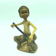 Vintage Pixie Elf Figurine long obo flute folk art statue musical golden Tilso