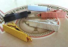 Designer Mens 4CM Skinny Tie Clip Bar Grille Silver Rose Gold White Black Clasp