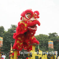 100% Wool Lion Dance Mascot Costume Suit Chinese Folk Art For Two Adults Red New