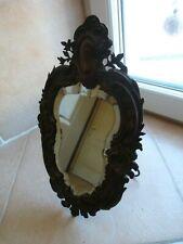 Miroir ancien 33x21 à poser ou à accrocher coiffeuse verre biseauté (cuivre?)