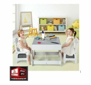 New, Costway Table Chairs Set With Storage Boxes, Blackboard/Whiteboard, Grey