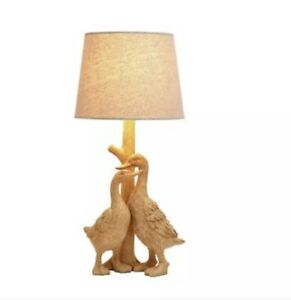 Home Ducks Table Lamp keeping with The Wood and Linen Style Textures - Natural