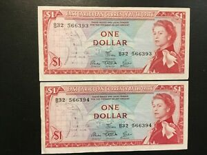EAST CARIBBEN STATES  (2 Notes)  1 Dollar 1965  - Consecutive #'s