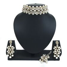 Kundan Choker Necklace Set Gold Plated Bollywood Bridal Indian Pearl Jewelry Set