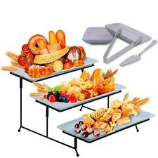 3 Tier Serving Tray Stand - Rectangular Dessert Party Platter with Sauce Dish